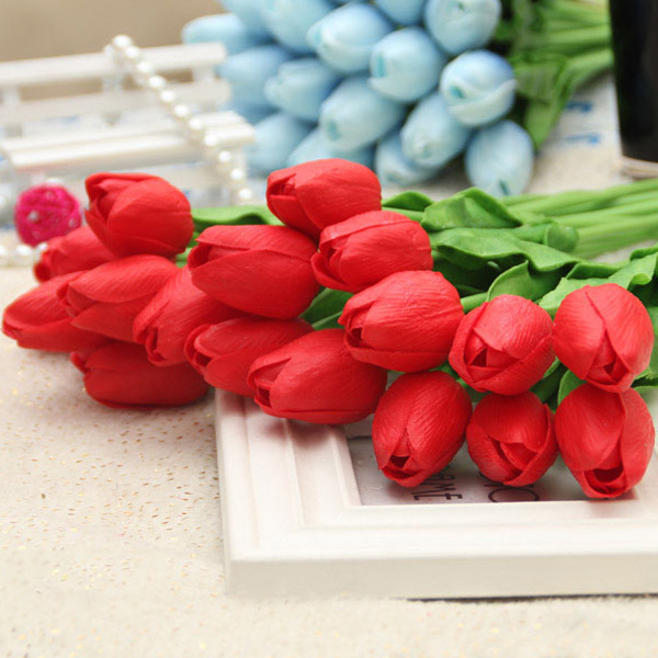PU réel tactile Tulip Bouquet Home Decor Fleur artificielle