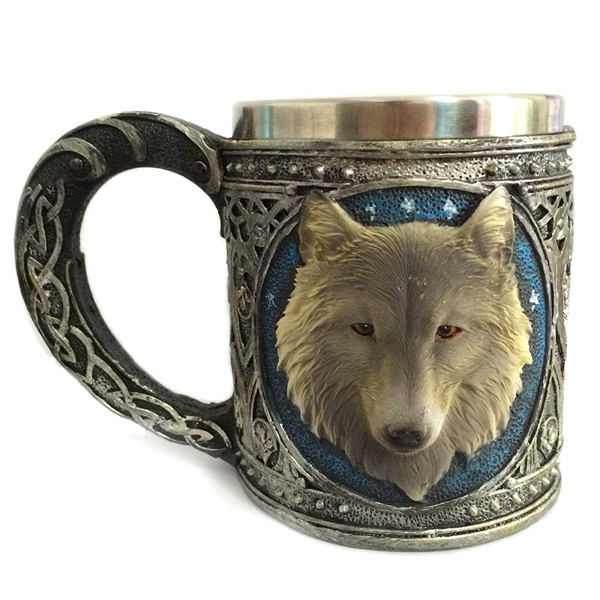 450ml Personalized Double Wall Stainless Steel 3D Wolf Head Mug