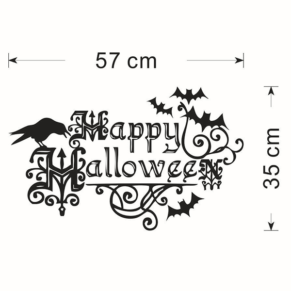 Amovible Happy Halloween Bats Chambre Autocollant Mural