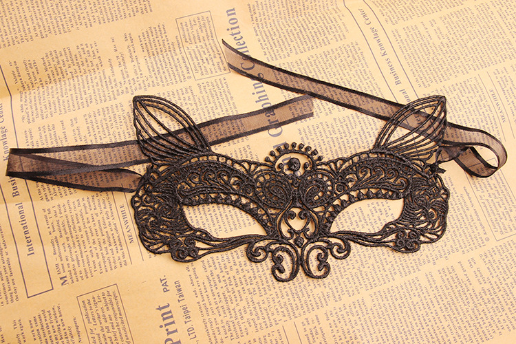 Mystical Upper Half Face Black Lace Carnival Masquerade Hollow Out Masks
