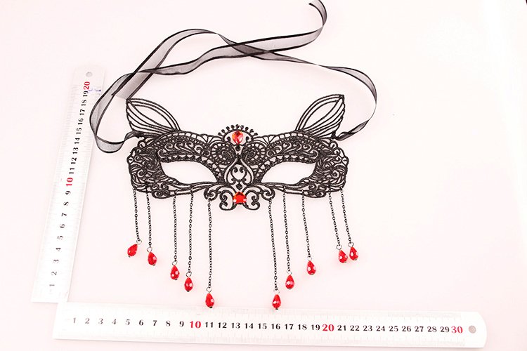 Waterdrop Tassels Half Face Lace Cut Out Masks