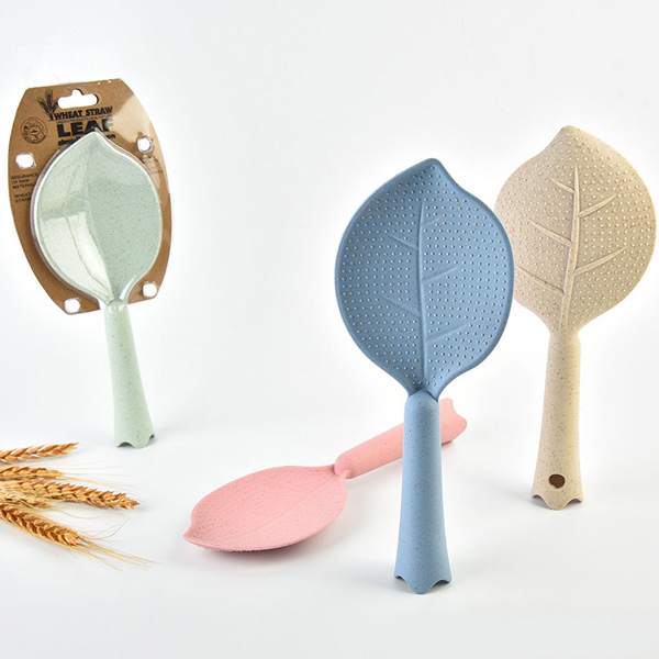 1Pcs Novelty Wheat Straw Leaves Standing Rice Spoon Spoon