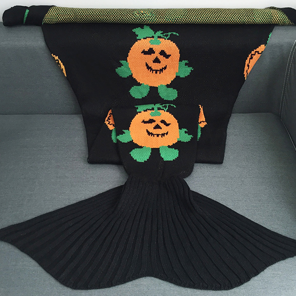 Halloween Pumpkin Multicolor Crochet Knitting Mermaid Tail style Blanket
