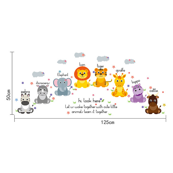 Removable Waterproof Cartoon Animals Wall Stickers