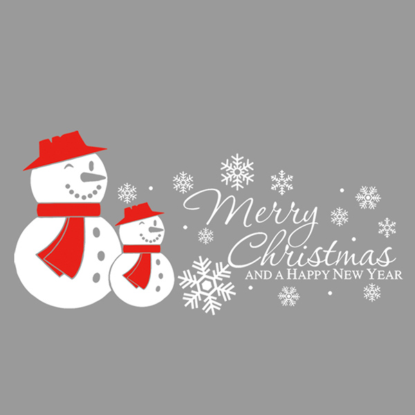 Merry Christmas Snow Man Removeable Autocollant Mural