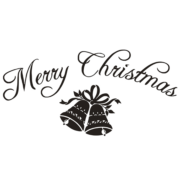 Merry Christmas Bells Removeable Glass Window Sticker mur