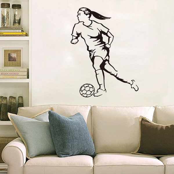 Female Football Player Removable Sports Vinyl Decals Wall Stickers