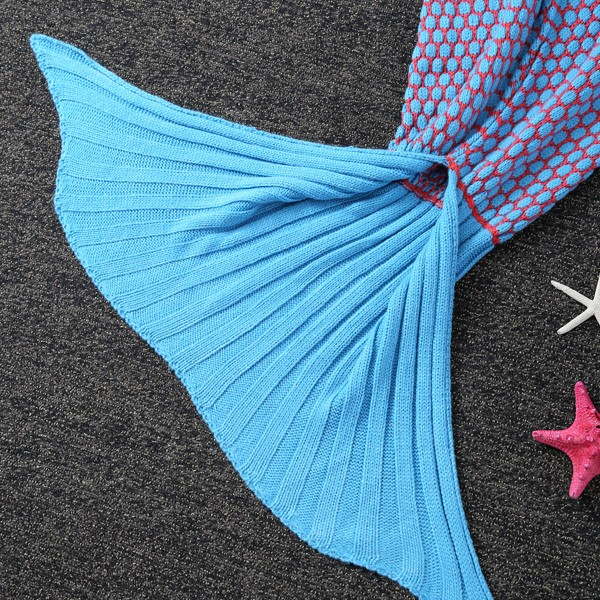 Thicken Knitted Dot Sleeping Bag Kids Wrap Sofa Mermaid Blanket