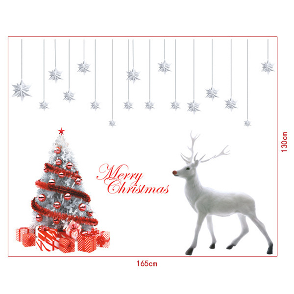 Christmas Elk Removable Glass Window Wall Stickers