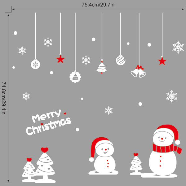 Removable Snowman Pattern Merry Christmas Showcase Wall Stickers