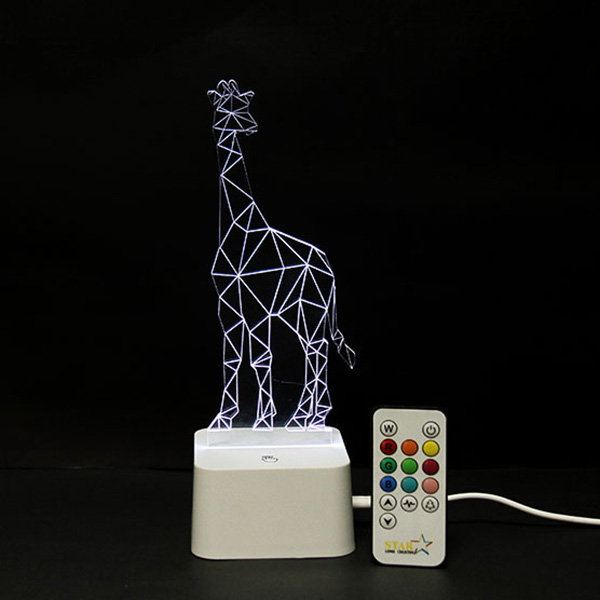 Colorful Remote Control 3D Visual Giraffe Atmosphere LED Night Light