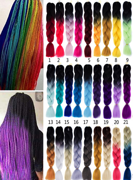 1 Pcs Multicolor Ombre à haute température en tranchant Long Hair Hair Extensions