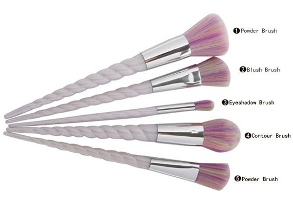 5 Pcs visage pinceaux de maquillage Unicorn Ensemble