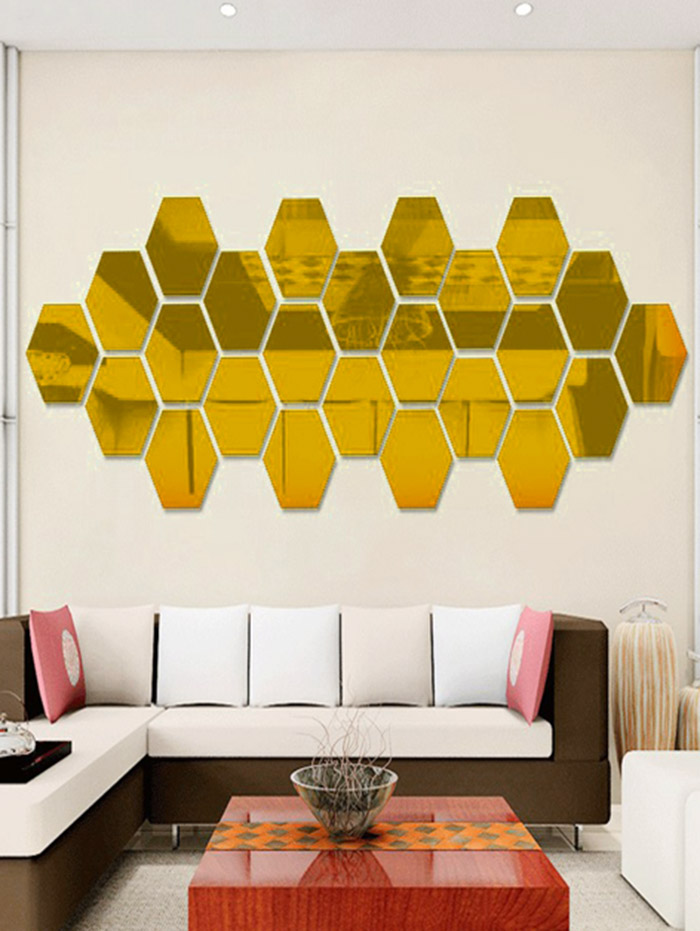 12 Pcs 3D Home Decor Hexagon Autocollant Mural