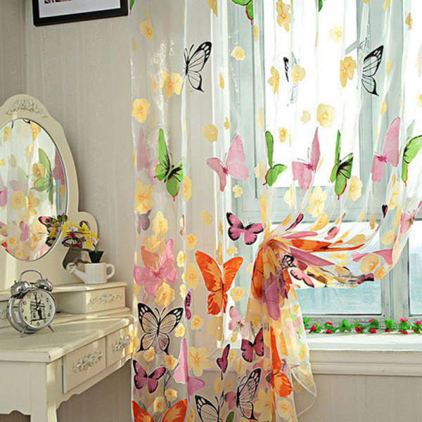 Butterfly Print Voile Curtain For Balcony Bedroom