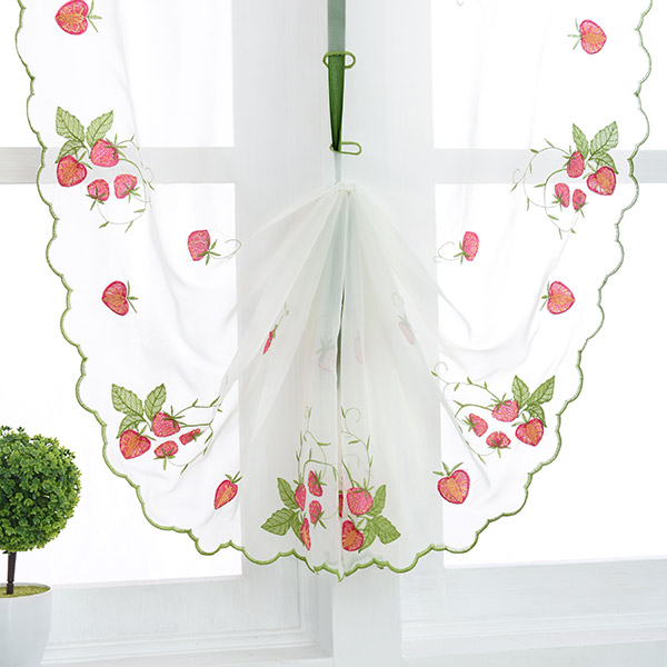 Roman Strawberry Broderie Sheer Tulle Rideau de fenêtre