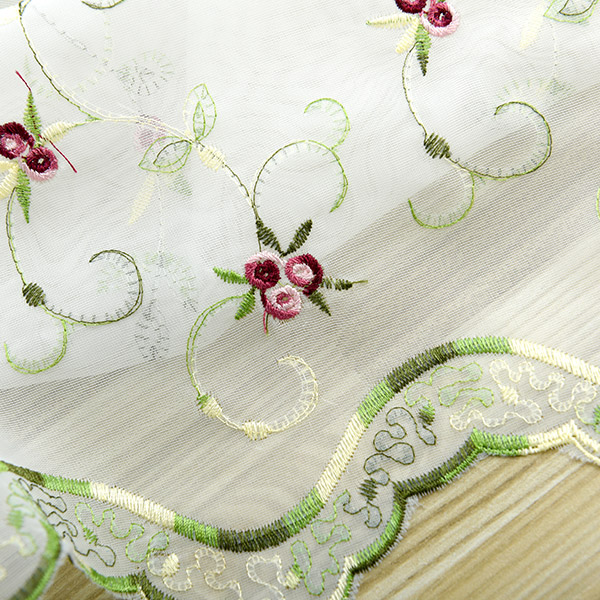 Roman Style Rose Embroidery Tull Rideau Pour Chambre