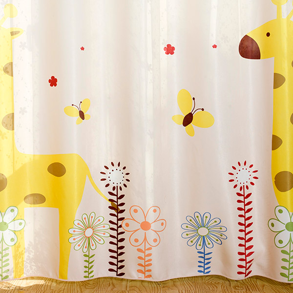 Cartoon Giraffe Shade Blackout Window Curtain