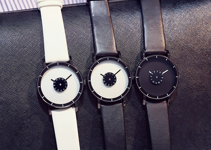 GIMTO Faux Leather Analog Number Watch