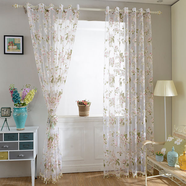 Flower embroidered sheer tulle curtain with beads pendant - Tende sala moderna ...