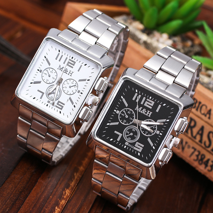 Metallic Strap Square Analog Watch