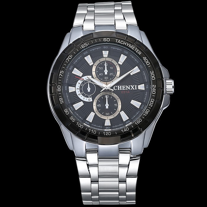CHENXI Stainless Steel Tachymeter Number Watch