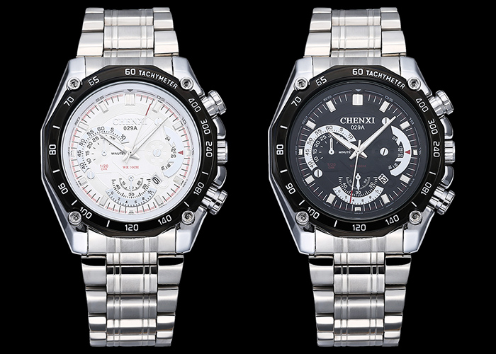 CHENXI Stainless Steel Tachymeter Date Watch