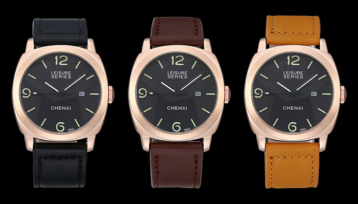 CHENXI Faux Leather Band Date Watch