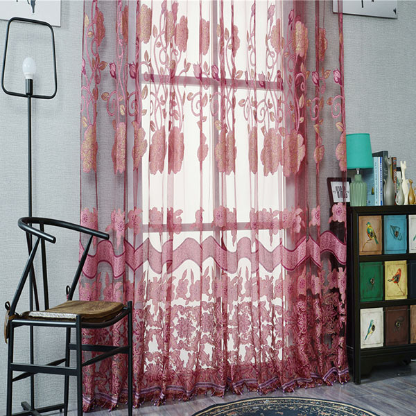 Jacquard Screen Door Window Tulle Rideau Sheer