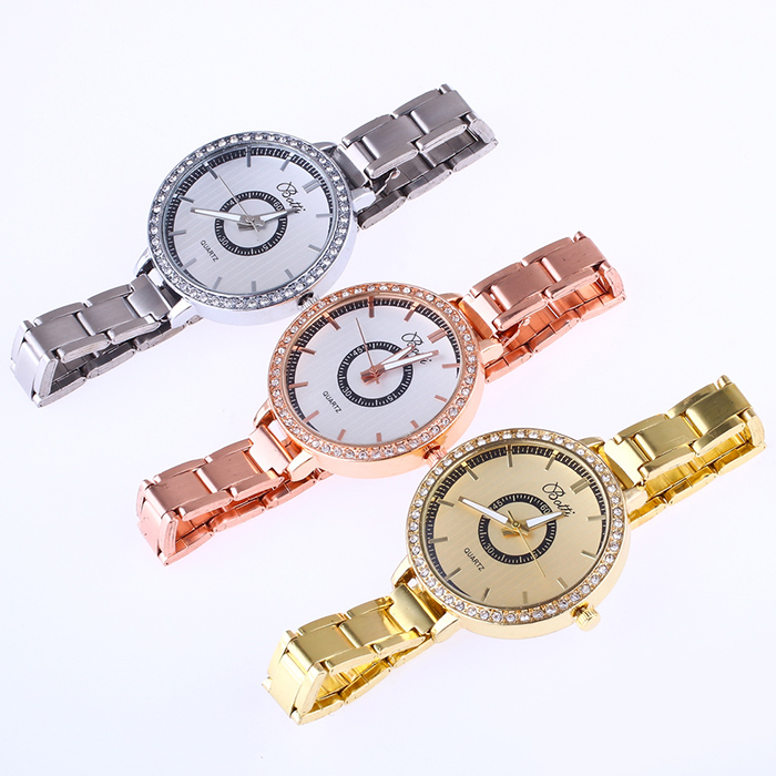 YBOTTI Alloy Rhinstone Analog Quartz Watch