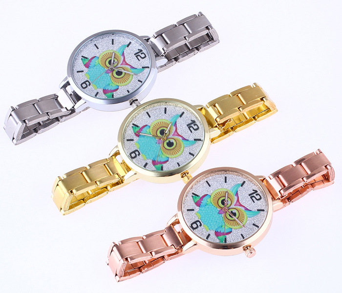 Alloy Strap Owl Analog Glitter Watch