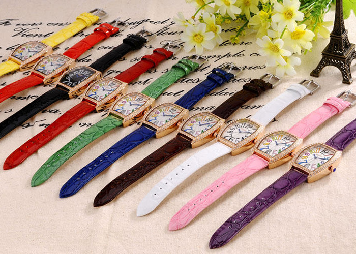 SOUSOU Faux Leather Number Quartz Watch