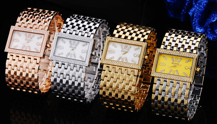 SOUSOU Alloy Strap Rhinestone Regtangle Watch