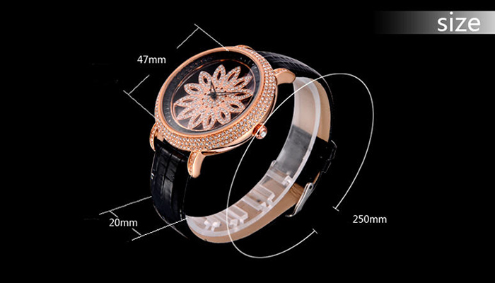 SOUSOU Faux Leather Rhinestone Flower Watch