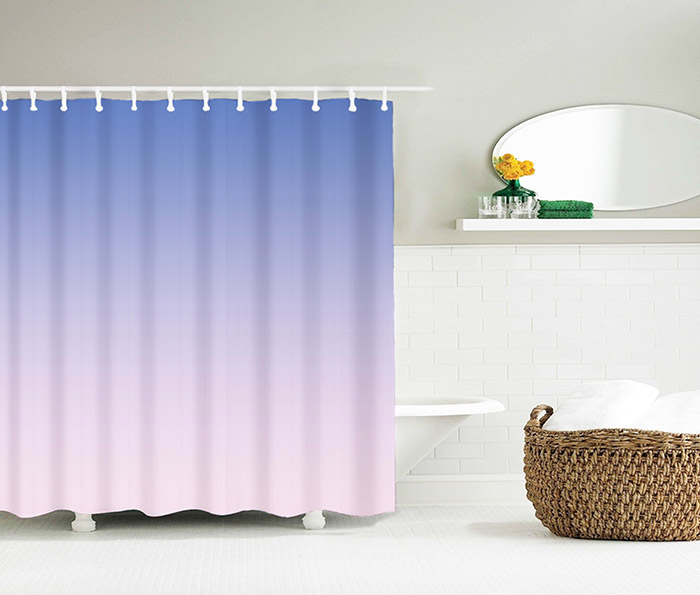 Color Gradient Polyester Fabric Shower Curtain