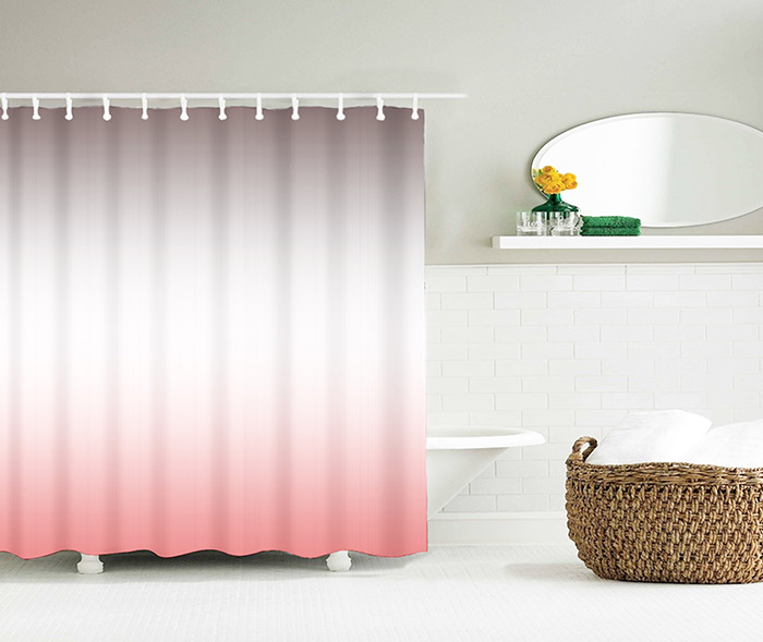 Brief Waterproof Polyester Ombre Shower Curtain
