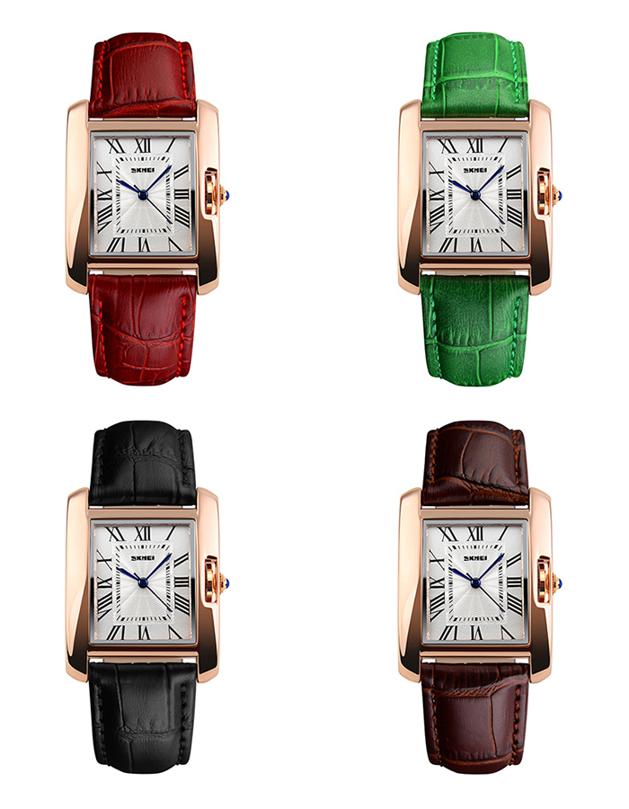 SKMEI Fuax Leather Strap Square Watch