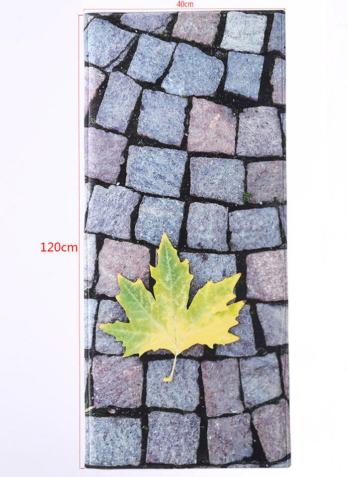 Large Stone Maple Leaf Flannel Antislip Bathroom Rug