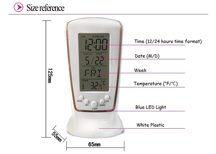 Temperature Calendar LCD Digital Alarm Clock