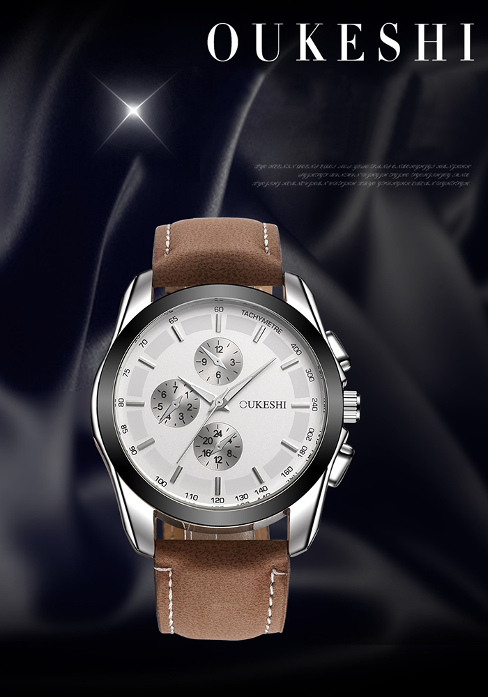 OUKESHI Faux Leather Strap Tachymeter Watch