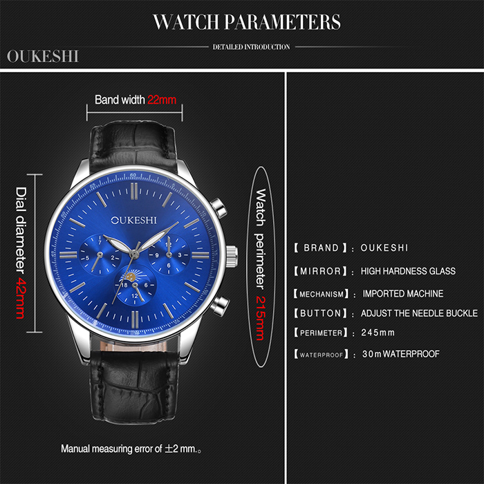 OUKESHI Faux Leather Number Quartz Watch