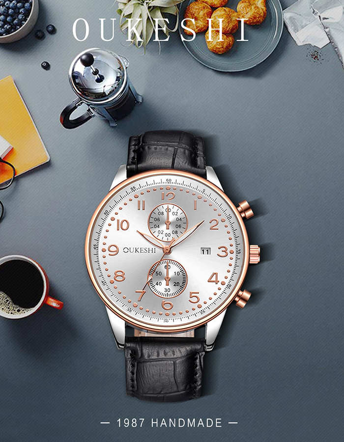OUKESHI Faux Leather Strap Number Date Watch