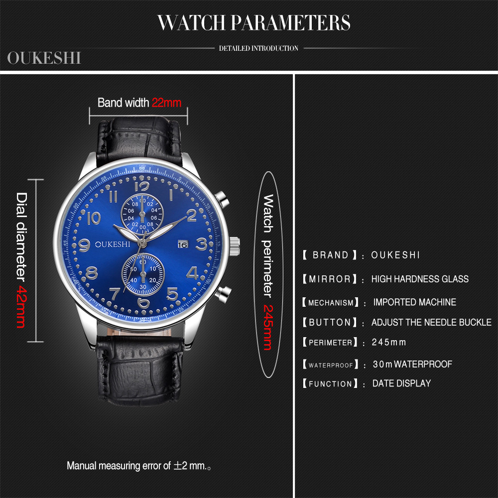 OUKESHI Calendar Faux Leather Business Watch