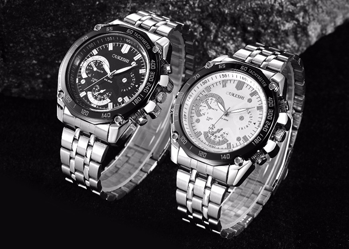 OUKESHI Steel Strap Tachymeter Quartz Watch