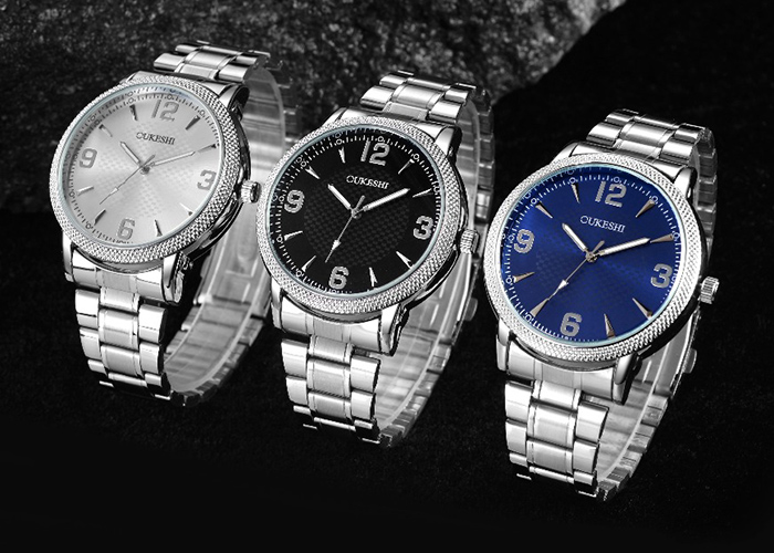 OUKESHI Steel Strap Number Quartz Watch