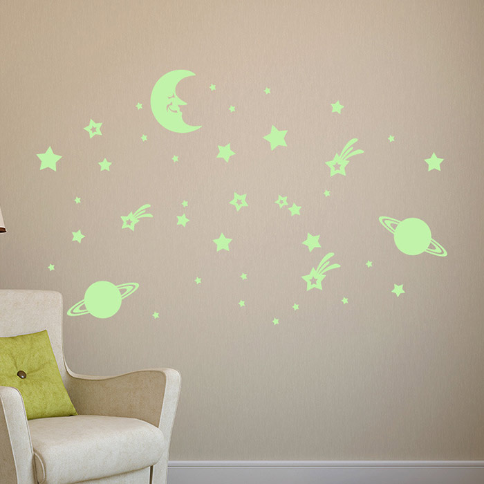Cartoon Moon Earth Star Noctilucent Wall Stickers For Nursery