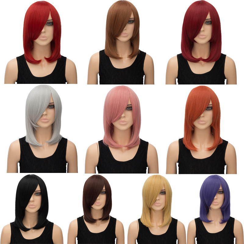 Adiors Medium Side Bang Silky Straight Tail Adduction Cosplay Anime Wig