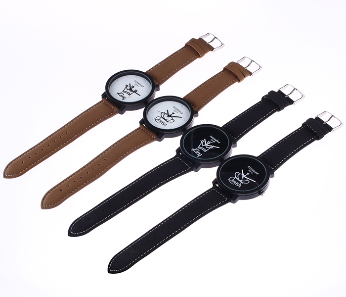 Faux Leather Strap Queen King Watch