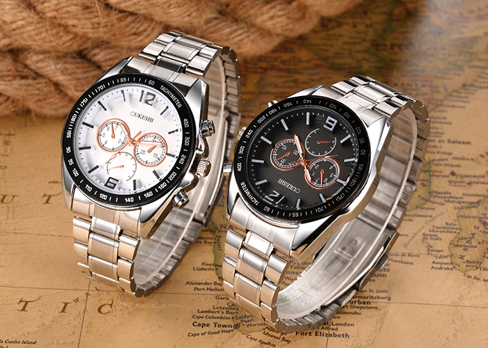 OUKESHI Steel Strap Tachymeter Wrist Watch