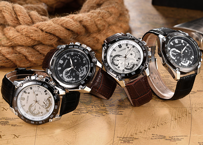 OUKESHI Tachymeter Faux Leather Strap Analog Watch